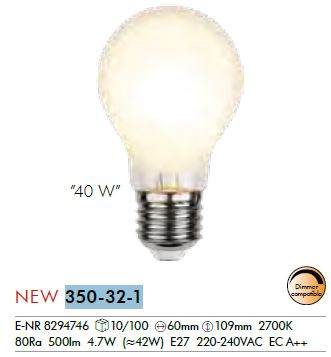 Filament LED, E27, 2700 K, 80 Ra, A, frosted,  4, 7W (42W),  500LM,  1x10, 9 cm,  dimmbar