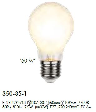 Filament LED, E27, 2700 K, 80 Ra, A, frosted,  7, 5W (60W),  810LM,  ca. 6x10, 9 cm