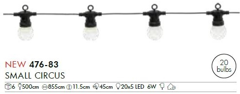 LED-Party-Kette Small Circus, 20-teilig,