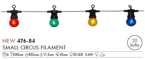 LED-Party-Kette Small Circus Filament, 20-tlg.
